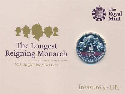 Изображение Подарочные монеты Великобритания Королева Елизавета II 2015 Серебро BUNC Буклет с 20-фунтовой