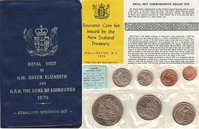 Изображение Подарочные монеты Новая Зеландия Набор 1970 года 1970  UNC Набор отмечает визит