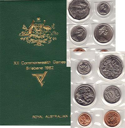 Изображение Подарочные монеты Австралия Игры содружества 1982  UNC В набор входит 1,2 ц