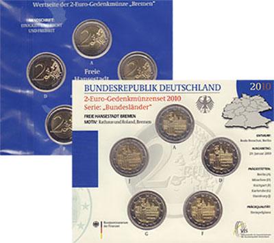 Изображение Подарочные монеты Германия Бремен 2010 Биметалл UNC 2-евровая монета из