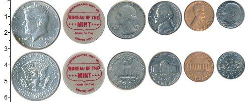 Изображение Наборы монет США США 1968 1968  UNC- В наборе 5 монет ном