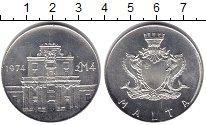 Изображение Монеты Мальта 4 фунта 1974 Серебро UNC