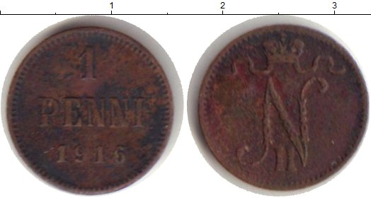 Картинка Монеты 1894 – 1917 Николай II 1 пенни Медь 1916