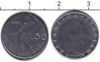 Изображение Монеты Италия 50 лир 1990 Медно-никель