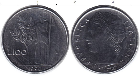 Картинка Монеты Италия 100 лир Медно-никель 1990