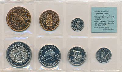 Изображение Наборы монет Новая Зеландия Набор 1965 года 1965  UNC В набор входят семь