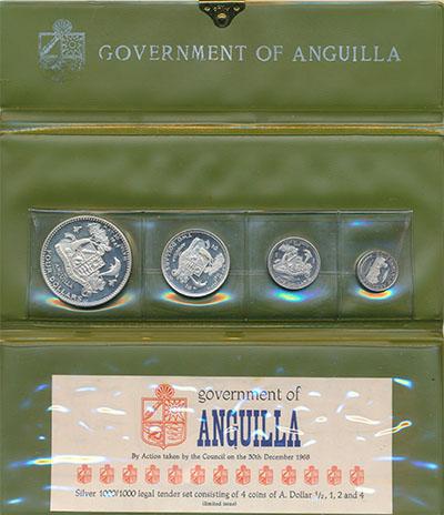 Изображение Подарочные монеты Ангилья День Ангильи 1969 Серебро Proof Набор монет выпущенн