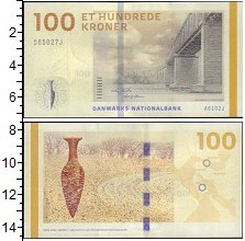 Изображение Боны Дания 100 крон 0  UNC- амфора