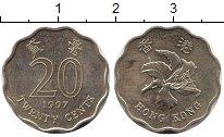Изображение Дешевые монеты Гонконг 20 центов 1997 Медь XF