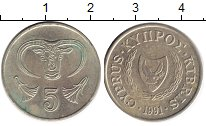 Изображение Барахолка Кипр 5 центов 1991 Медь XF
