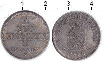 Изображение Монеты Саксония 2 гроша 1850 Серебро XF Фридрих Август II
