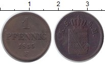 Изображение Монеты Саксония 1 пфенниг 1855 Медь XF