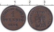 Изображение Монеты Гессен-Дармштадт 1 пфенниг 1872 Медь XF Людвиг III