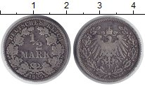 Изображение Монеты Германия 1/2 марки 1905 Серебро VF А
