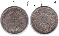Изображение Монеты Германия 1/2 марки 1913 Серебро XF А