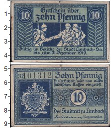 Изображение Банкноты Германия : Нотгельды 10 пфеннигов 1919  VF