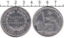 Изображение Монеты Индокитай 1 пиастр 1908 Серебро XF Протекторат Франции.