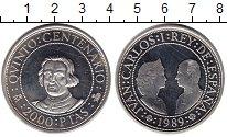Изображение Монеты Испания 2000 песет 1989 Серебро UNC Хуан Карлос I.