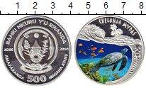Изображение Монеты Руанда 500 франков 2010 Серебро Proof Подводный мир. Череп