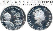 Изображение Монеты Острова Кука 100 долларов 1992 Серебро Proof 500 лет Америке порт