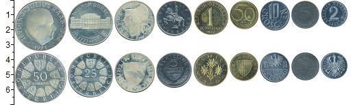 Изображение Наборы монет Австрия Австрия 1971 1971  XF В наборе 9 монет ном