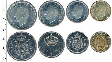 Изображение Наборы монет Испания Испания 1975 1975  UNC В наборе 4 монеты но