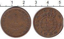 Изображение Монеты Ангола 1 эскудо 1956 Медно-никель XF Протекторат Португал