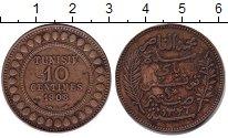 Изображение Монеты Тунис 10 сентим 1908 Медь XF