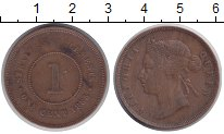 Изображение Монеты Стрейтс-Сеттльмент 1 цент 1883 Медь XF