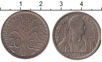 Изображение Монеты Индокитай 20 центов 1939 Медно-никель XF