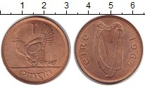 Изображение Монеты Ирландия 1 пенни 1965 Бронза UNC-