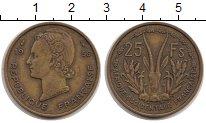 Изображение Мелочь Французская Африка 25 франков 1956 Латунь VF+