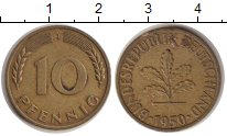Изображение Монеты ФРГ 10 пфеннигов 1950 Латунь XF