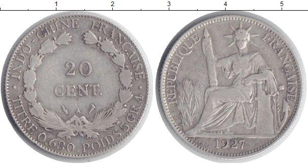 Картинка Монеты Индокитай 20 центов Серебро 1927