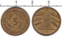 Изображение Монеты Веймарская республика 5 пфеннигов 1924 Латунь VF
