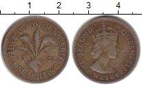 Изображение Монеты Нигерия 1 шиллинг 1962 Медно-никель VF Елизавета II. Англий