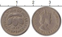 Изображение Монеты Нигерия 6 пенсов 1959 Медно-никель VF Елизавета II