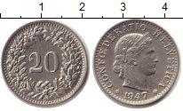 Изображение Монеты Швейцария 20 рапп 1947 Медно-никель XF