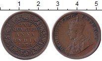 Изображение Монеты Британская Индия 1/4 анны 1936 Медь XF
