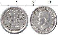 Изображение Монеты Австралия 3 пенса 1952 Серебро XF Георг VI.