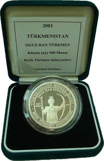 Изображение Подарочные монеты Туркменистан Огуз-хан 2001 Серебро Proof