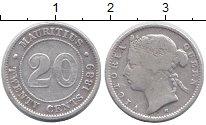 Изображение Монеты Маврикий 20 центов 1889 Серебро  Виктория.