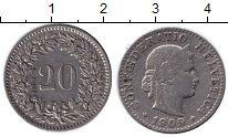 Изображение Монеты Швейцария 20 рапп 1909 Медно-никель XF