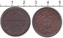 Изображение Монеты Сан-Марино 5 сентесим 1894 Медь XF