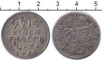 Изображение Монеты Анхальт-Бернбург 1/6 талера 1758 Серебро XF Sch 63