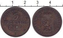 Изображение Монеты Рейсс 3 пфеннига 1868 Медь XF