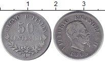Изображение Монеты Италия 50 сентесим 1863 Серебро XF- Витторио Имануил II
