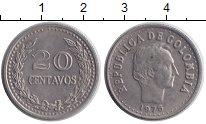 Изображение Монеты Колумбия 20 сентаво 1975 Никель XF