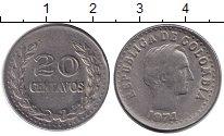 Изображение Монеты Колумбия 20 сентаво 1974 Медно-никель VF