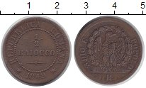 Изображение Монеты Италия 1/2 байоччи 1849 Медь XF